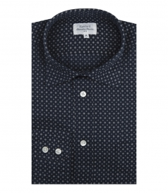 COTTON & LINEN BLEND PAUL SHIRT WITH FLORAL ALL OVER PRINT
