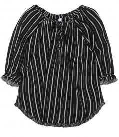 AERIAL WOVEN DRAW TOP IN BLACK AND IVORY WOVEN COTTON