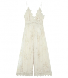 TROPICALE ANTIQUE JUMPSUIT IN IVORY EMBROIDERED SILK GEORGETTE