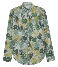 COTTON LONG SLEEVE SAMMY SHIRT WITH PALM LEAVES PRINT