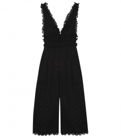 WINSOME CROP TEA JUMPSUIT WITH EYELET EMBROIDERY