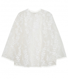 SHEER FLARED WINSOME VINE BLOUSE WITH FLUFFY EMBROIDERY