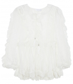 VALOUR SCALLOP RUFFLE BLOUSE WITH DEEP LACED UP V NECKLINE