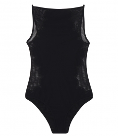 GOSSAMER APPLIQUED ONE PIECE WITH CONTRASTING MESH