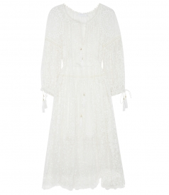 GOSSAMER SCALLOP LONG DRESS WITH SHOESTRING TIE