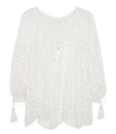 GOSSAMER SCALLOP GATHERED SHEER BLOUSE
