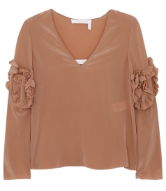 CLOTHES - FRILL DETAILED V NECK BLOUSE IN SILK
