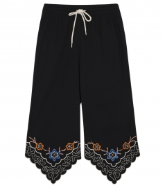 FLORAL EMBROIDERED CROPPED TROUSERS WITH ELASTICATED WAISTBAND