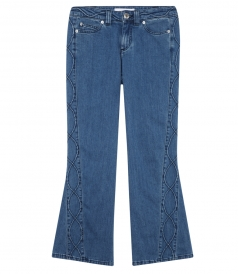 JEANS - FLARED DENIM CROPPED PANTS