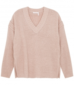 V NECK KNITTED LOOSE JUMPER WITH RIBBED DETAILING