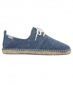 WASHED MARINE BLUE CANVAS DERBY LACE UP ESPADRILLE