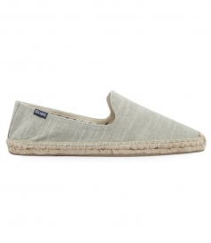 SHOES - LINEN NATURAL SAGE STRIPE SMOKING SLIPPER ESPADRILLE