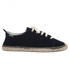 SHOES - DARK BLUE SUEDE LACE UP ESPADRILLE