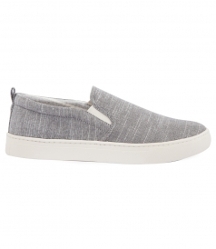 SHOES - GREY LINEN SLIP ON SNEAKER
