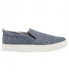 SHOES - BLUE LINEN SLIP ON SNEAKER