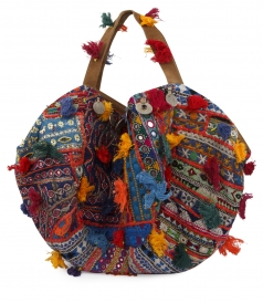 COTTON BIG BAG FT THAI TAPESTRY WITH POMPOMS & MIRRORS