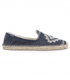SHOES - YUCUTAN EMBROIDERED SMOKING BLUE SLIPPER ESPADRILLE