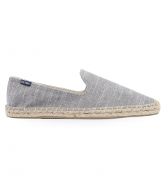 SHOES - LINEN NATURAL STRIPE SMOKING SLIPPER ESPADRILLE