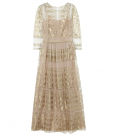 LIMITED EDITION FULL LACE MAXI DRESS WITH 3/4 SLEEVES
