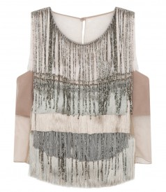 FRINGED & SEQUINED SLEEVELESS TOP