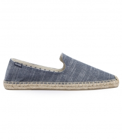 SHOES - LINEN NATURAL BLUE STRIPE SMOKING SLIPPER ESPADRILLE