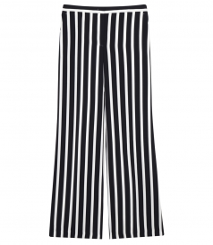 UNIFORM STRAIGHT LEG TROUSERS IN WHITE & BLACK STRIPES
