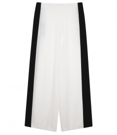 COLOR BLOCKED BLACK & WHITE WIDE LEG TROUSERS