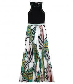 LONG DRESS WITH ZIP-UP TOP AND PLEATED FLORAL PRINTED SKIRT