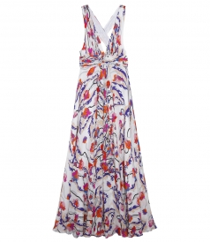 PRINTED GEORGETTE LONG LOW-CUT DRESS WITH HALTER NECKLINE
