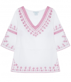 LIMITED EDITION EMBROIDERED CUPID KAFTAN IN SOFT COTTON