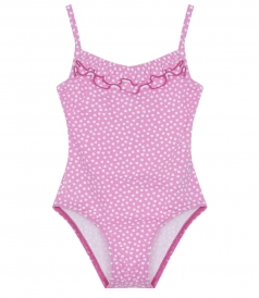 CUPID ONE PIECE COVERED IN HEARTS & FRILL NECKLINE