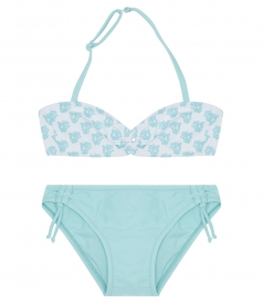 BANDEAU PRINTED TOP & RUCHED SIDE BOTTOMS WATERBABY BIKINI