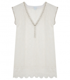 CLOTHES - CROCHETED DAISY TUNIC WITH BEADING & SCALLOPED HEM