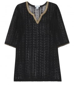 CLOTHES - CROCHETED GYPSY TUNIC WITH CRYSTAL TRIM & MINI POM POMS HEM