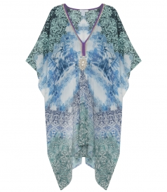 CLOTHES - ROSALIND PRINTED KAFTAN WITH HAND EMBROIDERED  CRYSTALS