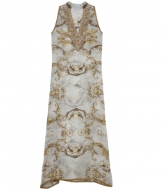 CLOTHES - GOLDEN COFFEE HAND EMBROIDERED &  CRYSTAL ENCRUSTED MAXI DRESS