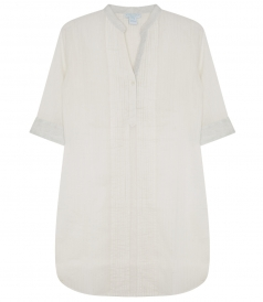 SOFTLY PLEATED SILVERY SHIRT FT CROCHETED BUTTON CLOSURE