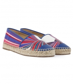 SALES - PRINTED LEATHER ESPADRILLES WITH BLUE LEATHER TRIM