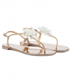 LETIZIA MIRRORED ROSE GOLD FLAT SANDAL WITH CRYSTAL FLOWER