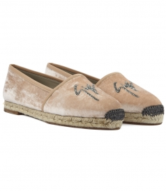 RUTH SLIP ON ESPADRILLAS IN PINK VELVET WITH STUDDED LOGO