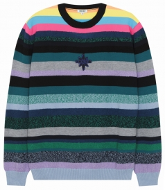 SWEATSHIRTS - MULTICOLOUR STRIPED SWEATED WITH KENZO LOGO EMBROIDERY