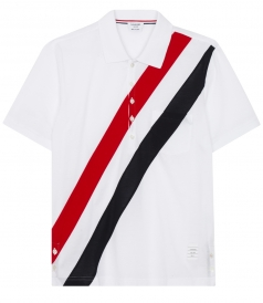 SHORT SLEEVE STRAIGHT HEM POLO WITH DIAGONAL PRINT