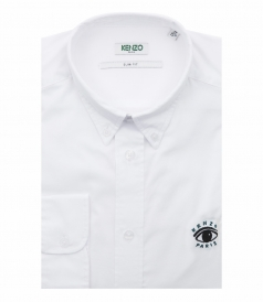 CASUAL FITTING SHIRT IN COTTON TWILL FT TIGER EMBROIDERY