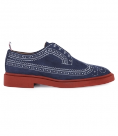 SLIP ON BROGUES WITH EMBROIDERED DETAILING IN NUBUCK LEATHER