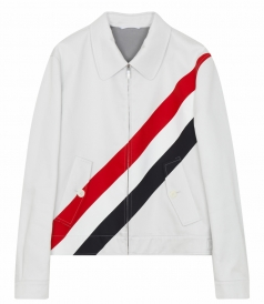 THOM BROWNE NEW YORK - TWO POCKET CASUAL JACKET IN COTTON FT TRICOLORED STRIPES
