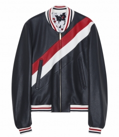 THOM BROWNE NEW YORK - FITTED VARSITY JACKET IN DEERSKIN & COTTON BLEND