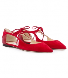 VANESSA SUEDE & NAPPA BLEND POINTED TOE FLATS