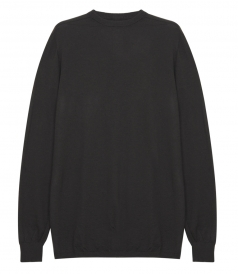 CASHMERE RIBBED HEM OVERSIZED KNITTED PULLOVER
