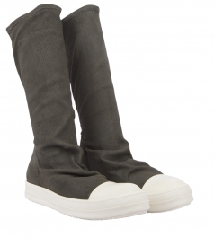 BOOTS - LEATHER & COTTON BLEND SOCK FITTED BOOTS