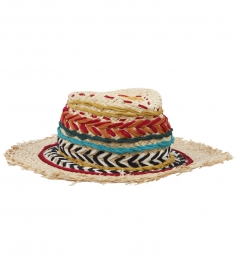 MULTICOLORED SILK AND RAFFIA WOVEN DETAILED FEDORA HAT